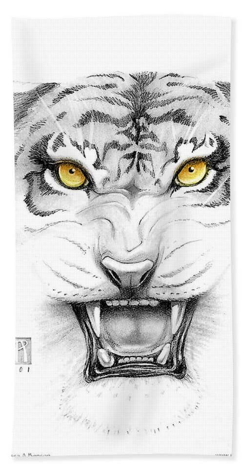 Amber Hand Towel featuring the digital art Golden Tiger Eyes by Melissa A Benson