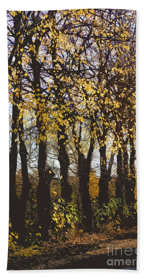 Abstract Hand Towel featuring the digital art Golden Trees 1 by Carol Lynch