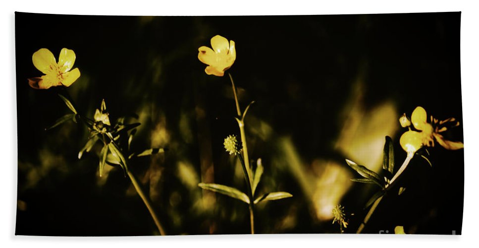 Flowers Hand Towel featuring the photograph Golden Twinkles by JB Thomas