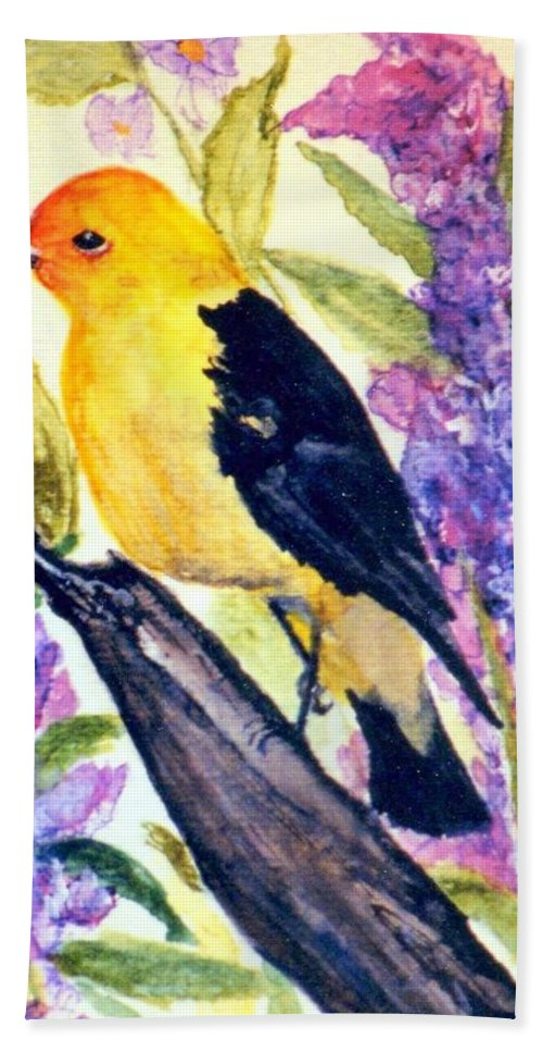 Birds Bath Towel featuring the painting Goldfinch by Gail Kirtz