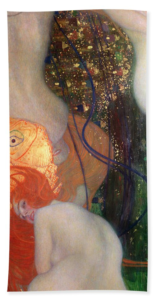 Fish Hand Towel featuring the painting Goldfish by Gustav Klimt
