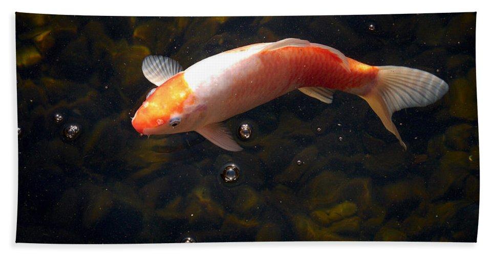 Loro Park Hand Towel featuring the photograph Goldfish by Jouko Lehto