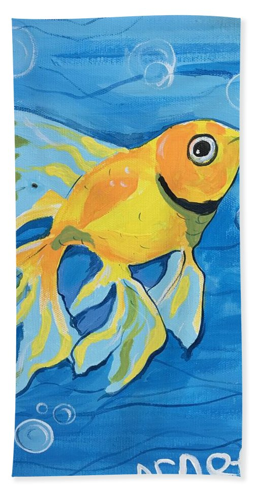 Easterseals Southwest Florida Bath Sheet featuring the painting Goldfish Whisper by Arnetta T