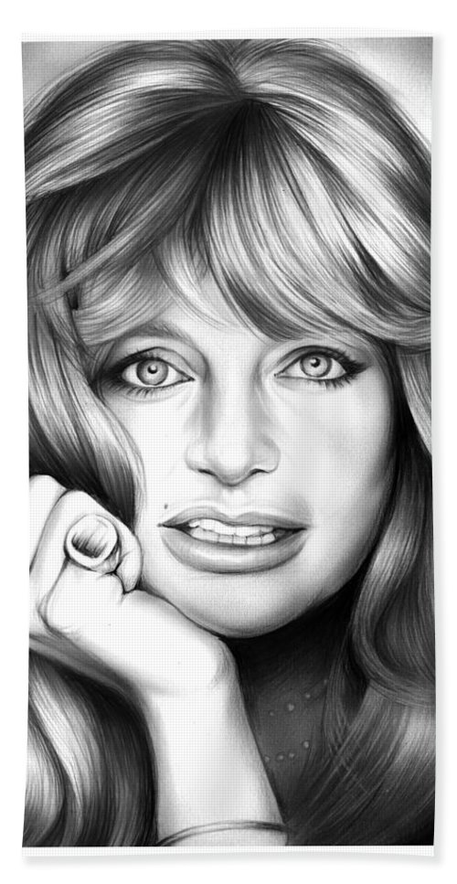 Goldie Hawn Hand Towel featuring the drawing Goldie Hawn by Greg Joens