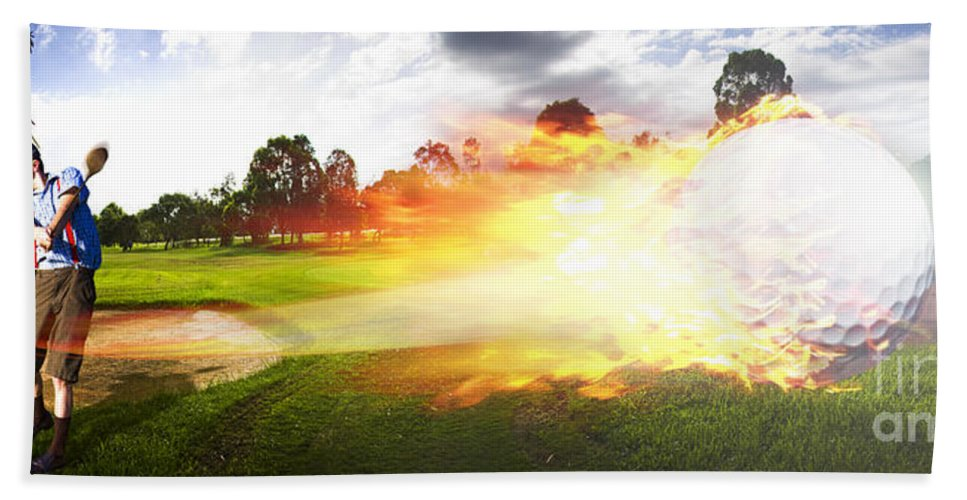 Vacation Bath Towel featuring the photograph Golf Ball On Fire by Jorgo Photography - Wall Art Gallery