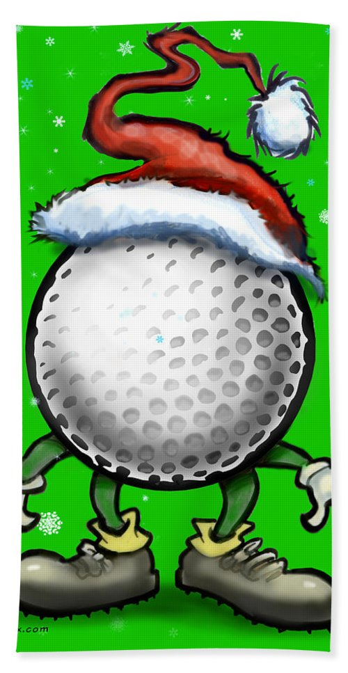 Golf Hand Towel featuring the digital art Golf Christmas by Kevin Middleton