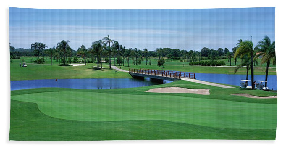 Photography Bath Sheet featuring the photograph Golf Course Gold Coast Queensland by Panoramic Images