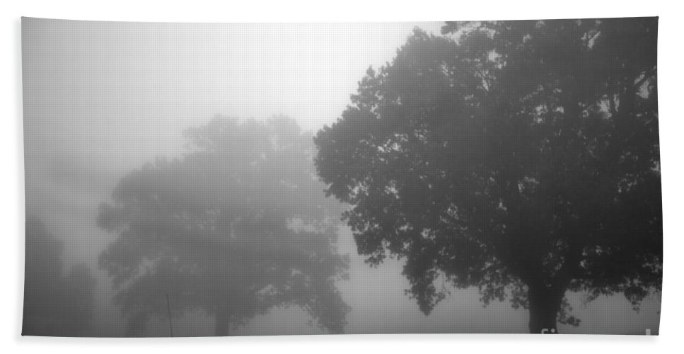 Tree Bath Sheet featuring the photograph Golf Course With Fog by Amanda Barcon