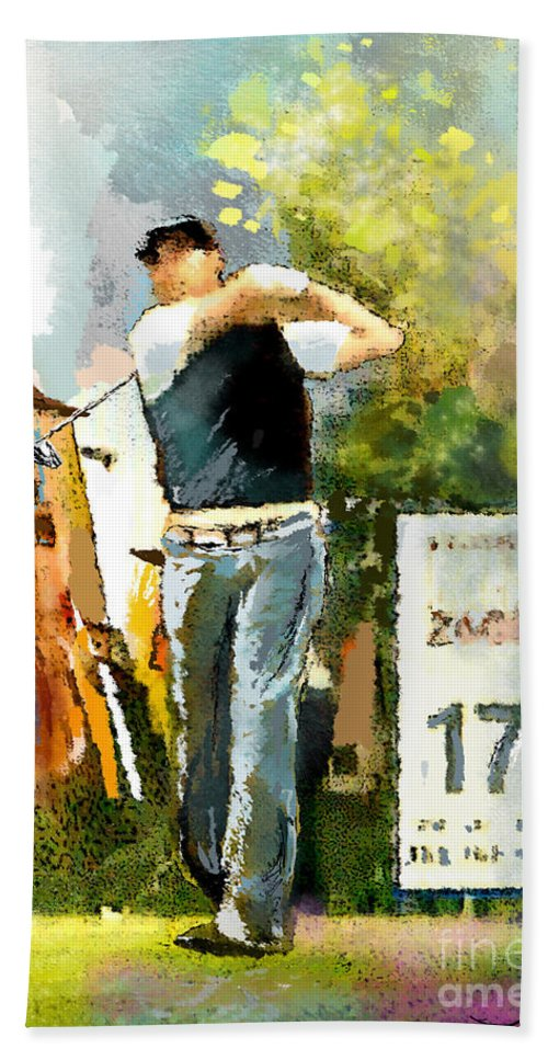 Golf Hand Towel featuring the painting Golf In Club Fontana Austria 01 Dyptic Part 01 by Miki De Goodaboom