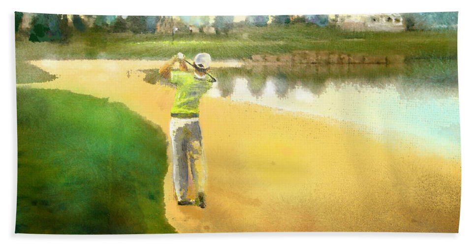 Golf Hand Towel featuring the painting Golf In Club Fontana Austria 02 by Miki De Goodaboom