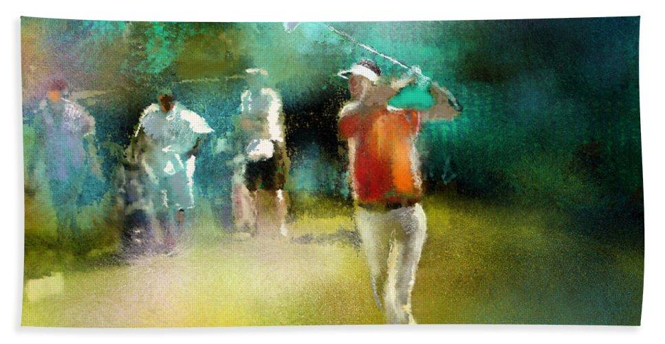 Golf Painting Golfer Sport Pga Tour Club Fontana Vienna Austria Austria Open Hand Towel featuring the painting Golf In Club Fontana Austria 03 by Miki De Goodaboom