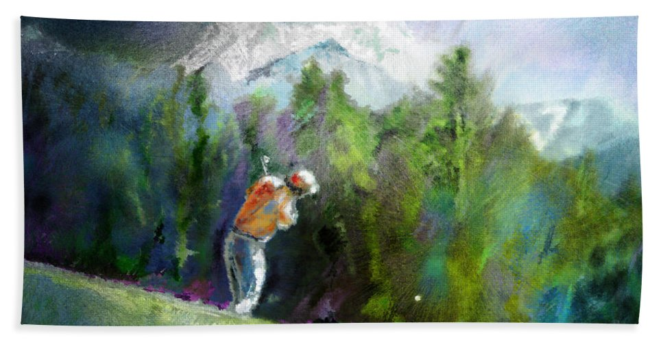 Golf Hand Towel featuring the painting Golf In Crans Sur Sierre Switzerland 02 by Miki De Goodaboom
