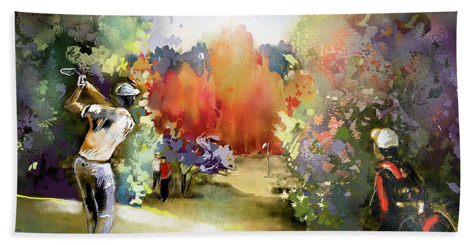 Golf Painting Golfer Sport Gut Laerchenhof Mercedes-benz Championship Pga Golf Hand Towel featuring the painting Golf In Gut Laerchehof Germany 02 by Miki De Goodaboom