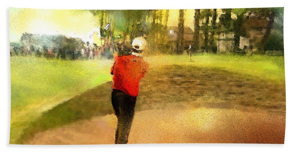 Golf Bath Sheet featuring the painting Golf In Scotland Saint Andrews 01 by Miki De Goodaboom