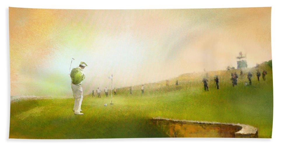 Golf Bath Towel featuring the painting Golf In Scotland Saint Andrews 02 by Miki De Goodaboom