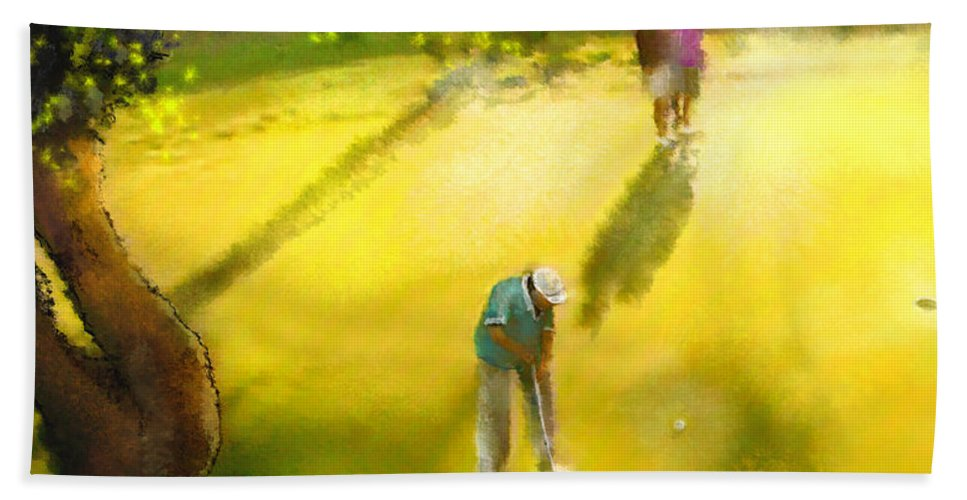 Golf Hand Towel featuring the painting Golf In Spain Castello Masters 01 by Miki De Goodaboom