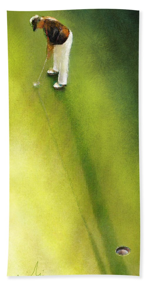 Golf Hand Towel featuring the painting Golf In Spain Castello Masters 03 by Miki De Goodaboom