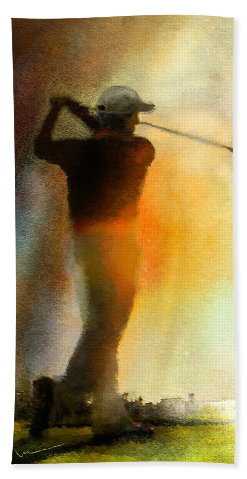Art Bath Sheet featuring the painting Golf In The Portugal Masters 01 by Miki De Goodaboom