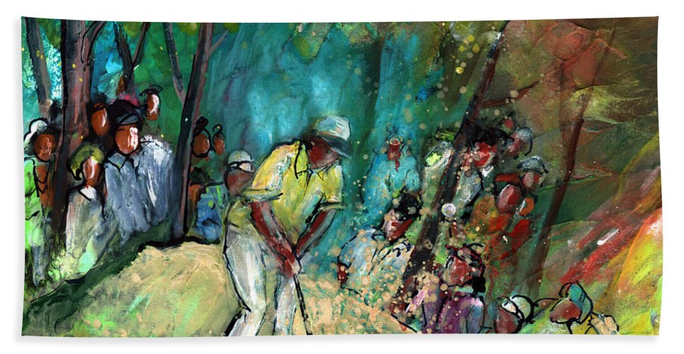 Sport Bath Sheet featuring the painting Golf Madness 03 by Miki De Goodaboom