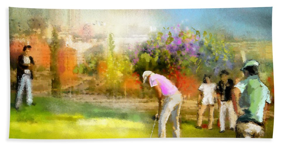 Golf Bath Sheet featuring the painting Golf Madrid Masters 02 by Miki De Goodaboom
