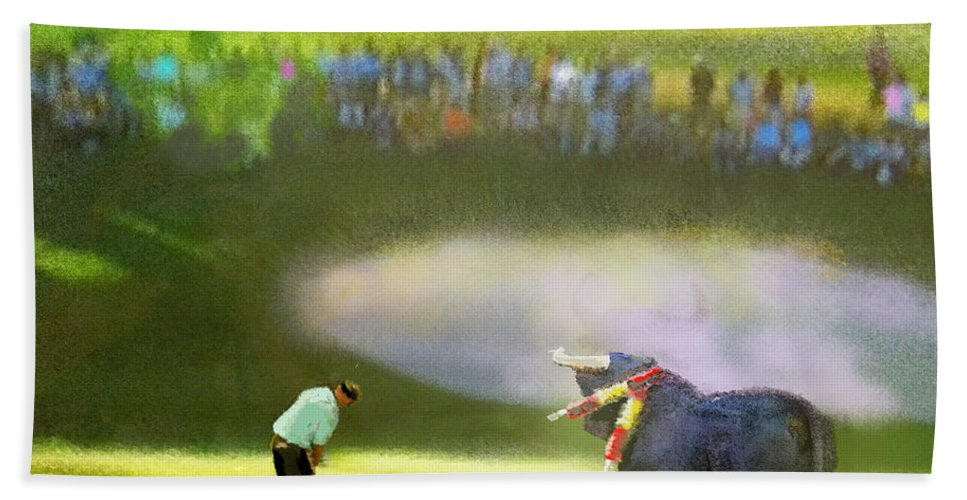 Golf Bath Towel featuring the painting Golf Madrid Masters 03 by Miki De Goodaboom