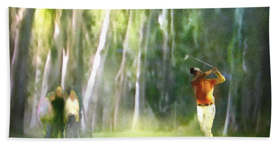 Golf Bath Sheet featuring the painting Golf Trophee Hassan II In Royal Golf Dar Es Salam Morocco 01 by Miki De Goodaboom