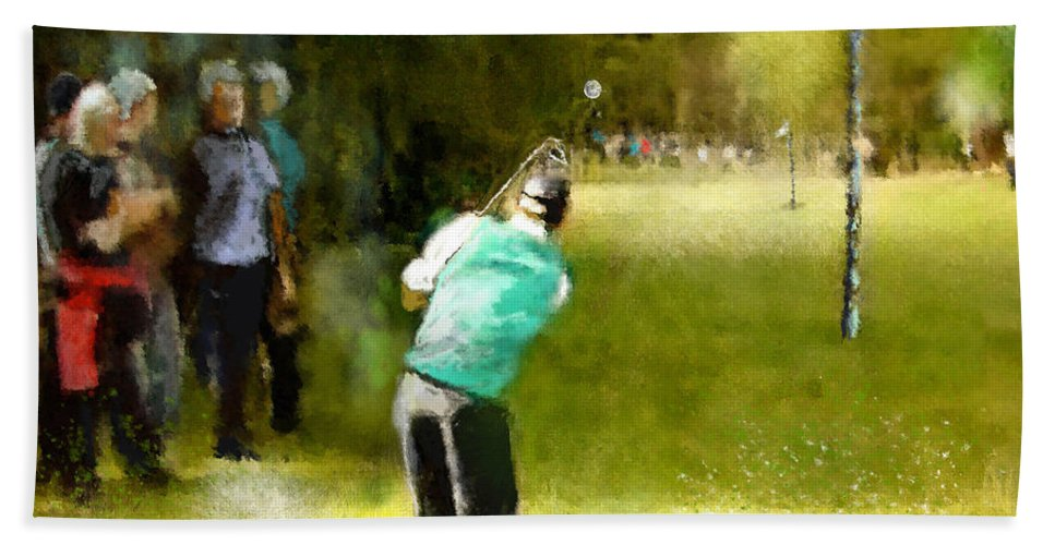 Golf Hand Towel featuring the painting Golf Vivendi Trophy In France 02 by Miki De Goodaboom