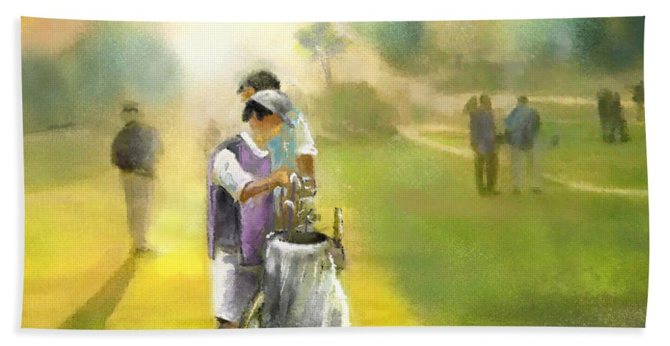 Golf Hand Towel featuring the painting Golf Vivendi Trophy In France 03 by Miki De Goodaboom