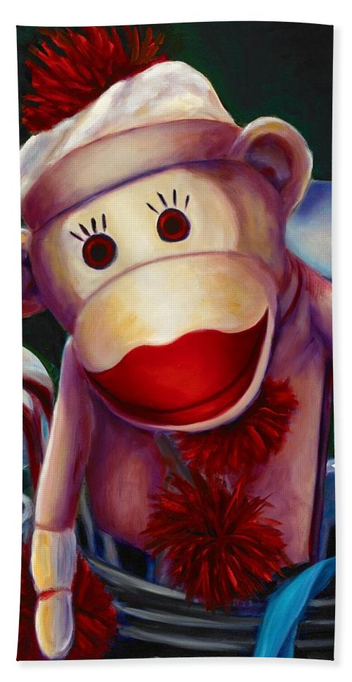 Monkey Hand Towel featuring the painting Golfer Made Of Sockies by Shannon Grissom