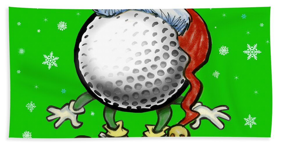Golf Hand Towel featuring the greeting card Golfmas by Kevin Middleton