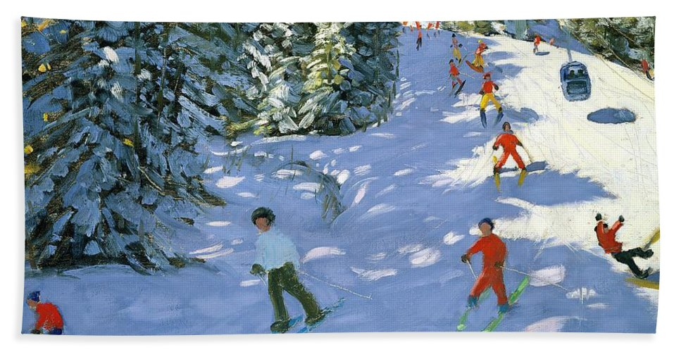 Piste Hand Towel featuring the painting Gondola Austrian Alps by Andrew macara