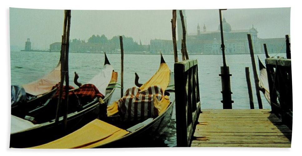 Venice Bath Towel featuring the photograph Gondolas by Ian MacDonald
