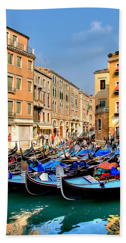 Italy Hand Towel featuring the photograph Gondolas In The Square by Peter Tellone