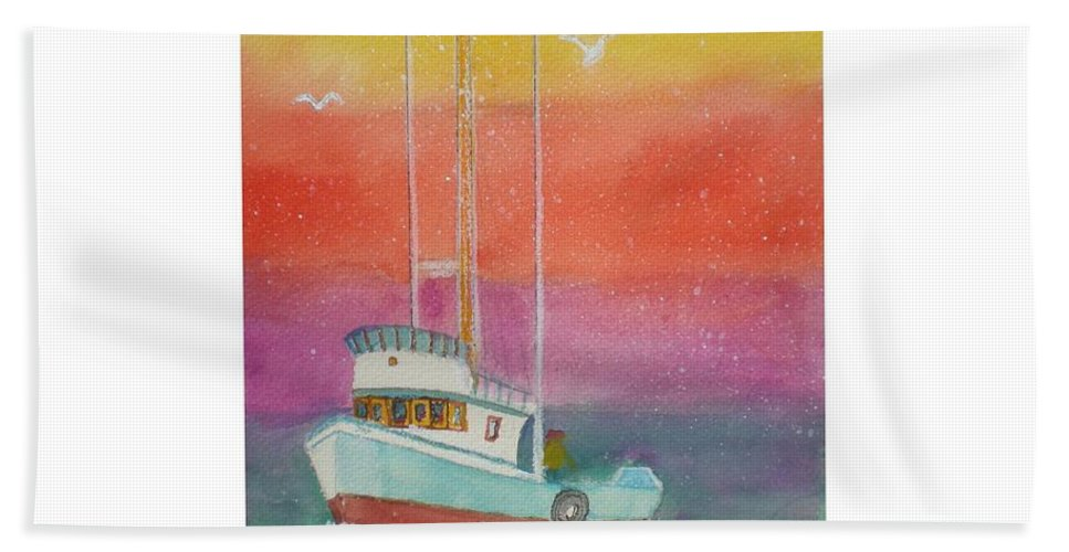 Ocean Hand Towel featuring the painting Gone Fishing At Midnight by Hal Newhouser