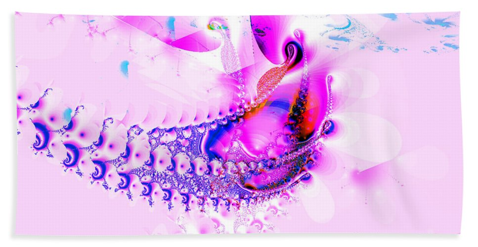 Pink Hand Towel featuring the digital art Gone Fishing by Claire Bull