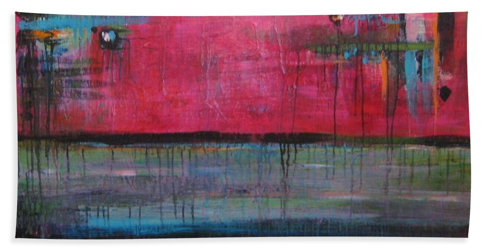 Abstract Hand Towel featuring the painting Gone by Laurie Maves ART
