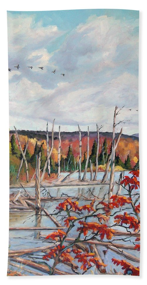 Original Painting Hand Towel featuring the painting Gone South by Richard T Pranke
