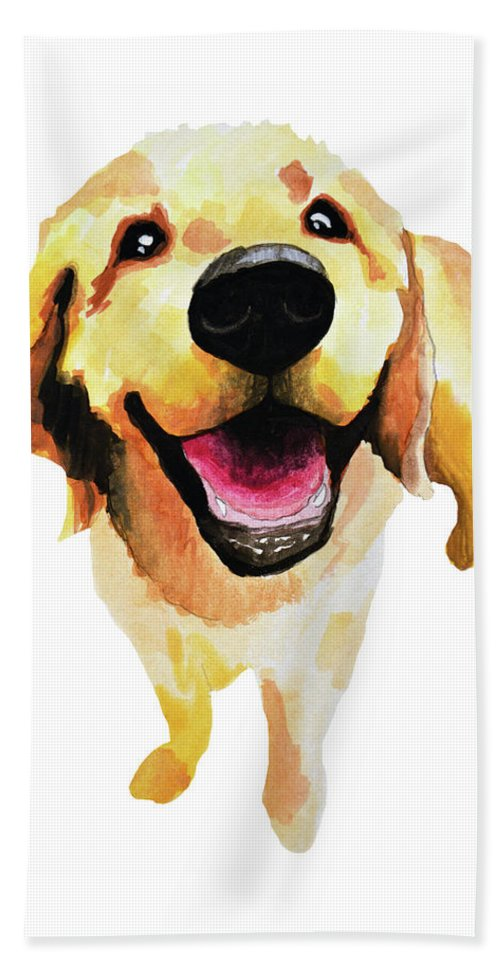 Dog Bath Towel featuring the painting Good Boy by Amy Giacomelli
