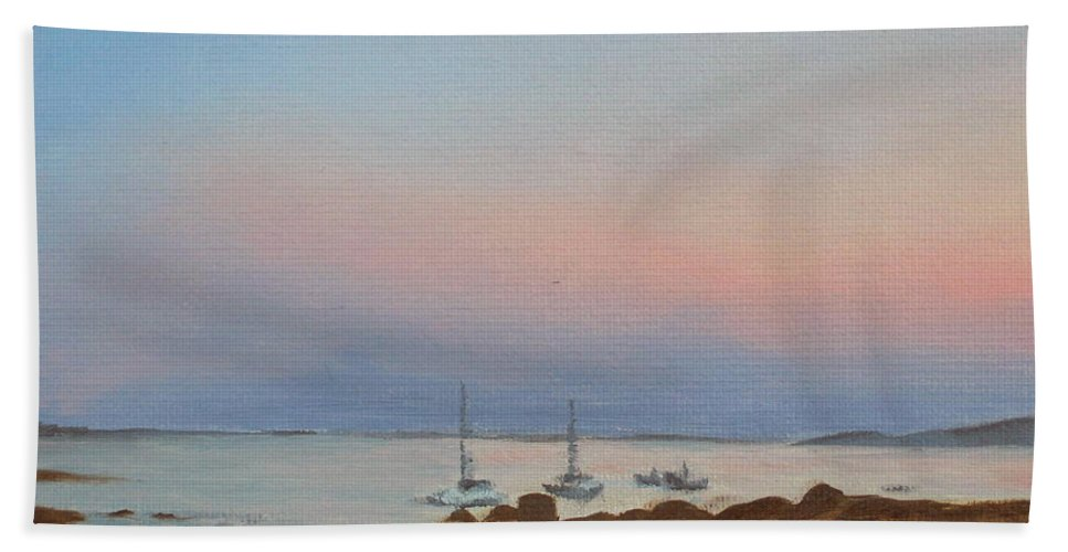 Seascape Hand Towel featuring the painting Good Harbor by Lea Novak