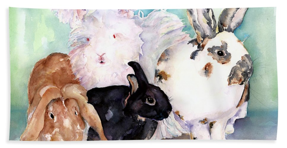 Animal Artwork Bath Sheet featuring the painting Good Hare Day by Pat Saunders-White