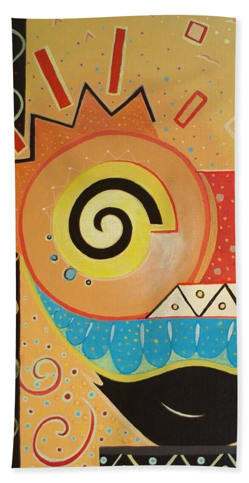Rise And Shine Hand Towel featuring the painting Good Morning by Helena Tiainen