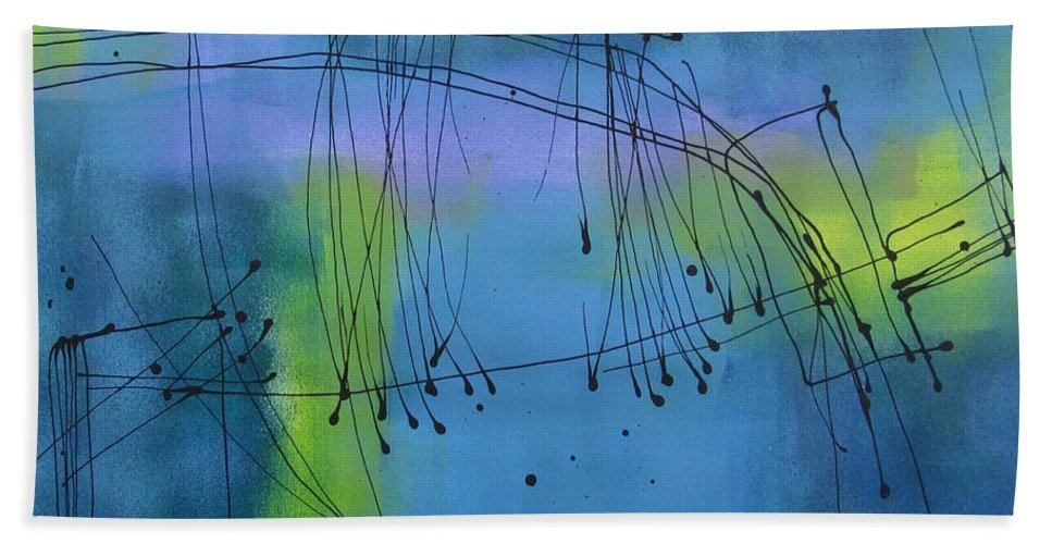 Abstract Bath Sheet featuring the painting Good Vibrations Three by Louise Adams