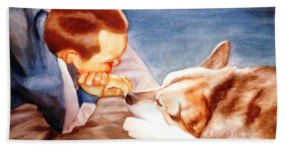 Boy & Dog Hand Towel featuring the painting Goodbye Misty by Marilyn Jacobson