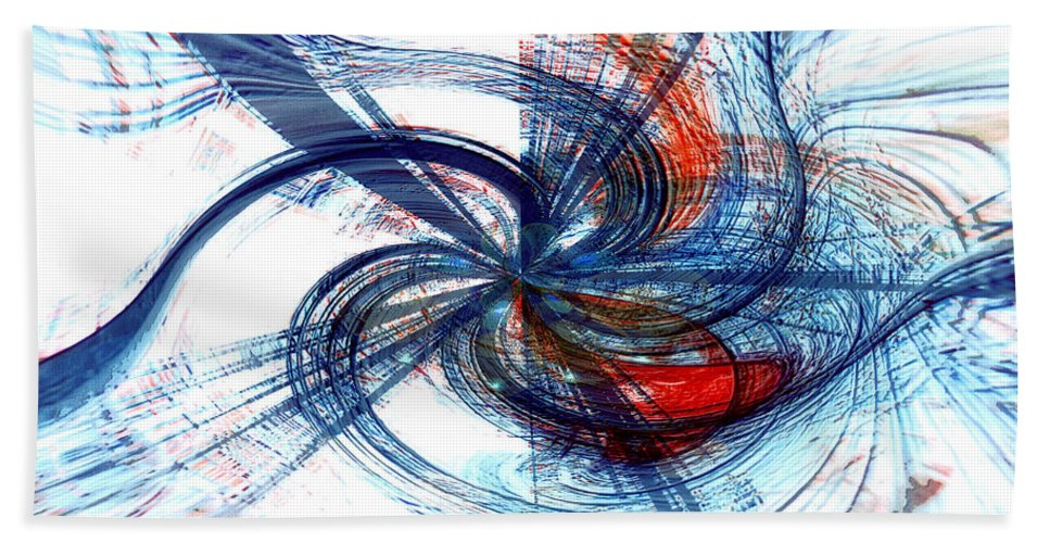 Abstract Art Bath Sheet featuring the digital art Goodbye Sky by Linda Sannuti