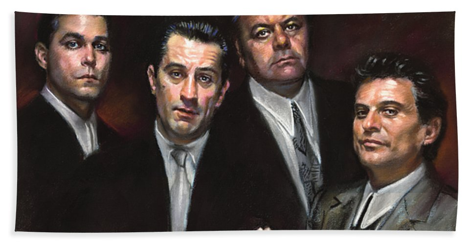 Goodfellas Hand Towel featuring the pastel Goodfellas by Ylli Haruni
