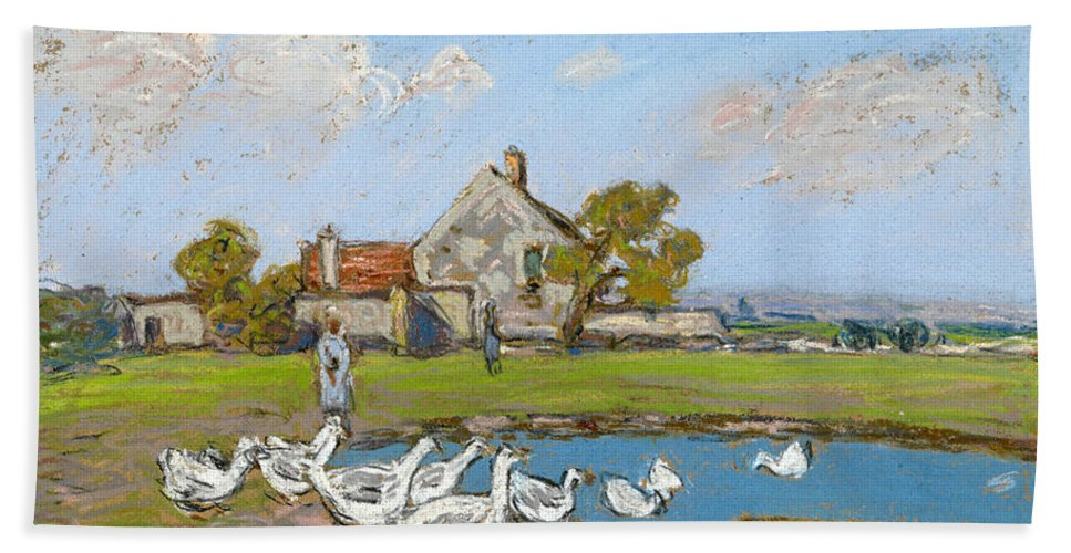 Alfred Sisley Hand Towel featuring the drawing Goose Girl At Sablons by Alfred Sisley