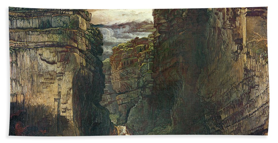 Yorkshire Hand Towel featuring the painting Gordale Scar by James Ward
