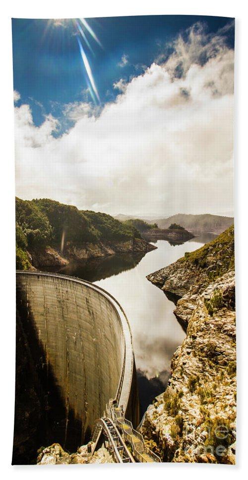 River Bath Towel featuring the photograph Gordon Dam Tasmania by Jorgo Photography - Wall Art Gallery