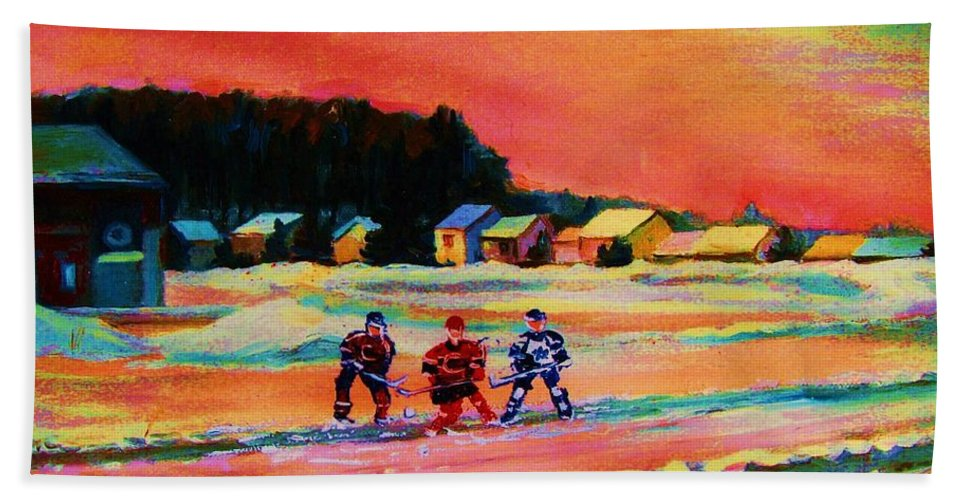 Hockey Landscape Bath Towel featuring the painting Gorgeous Day For A Game by Carole Spandau