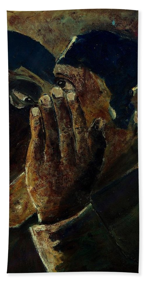 Figurative Bath Towel featuring the painting Gossip by Pol Ledent